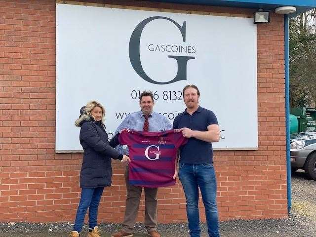 FROM left to right is Emma Saywell, chief executive of sponsors Gascoines, chairman Andrew Smith and new head coach Andy Powell.