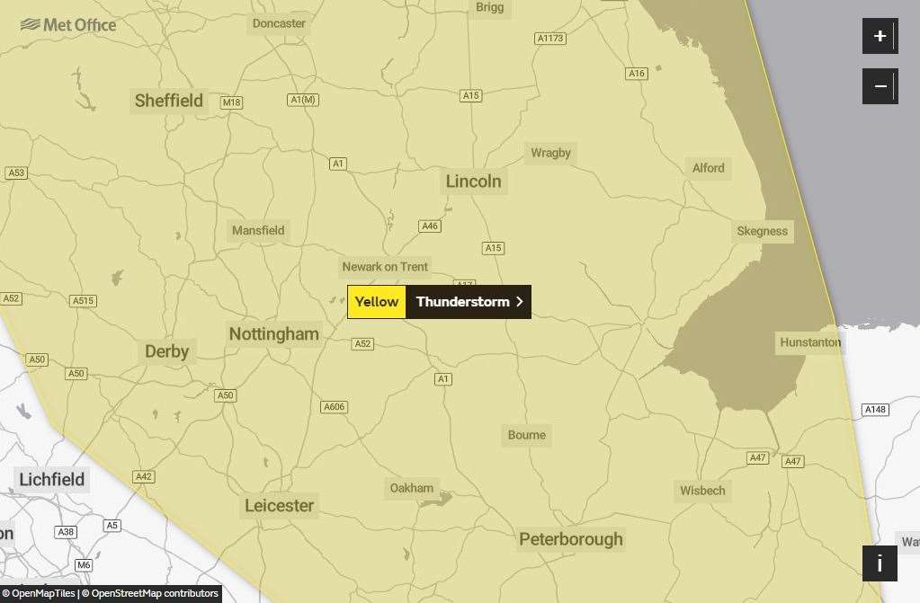 The Met Office has issued a yellow weather warning for thunderstorms today.(15782155)