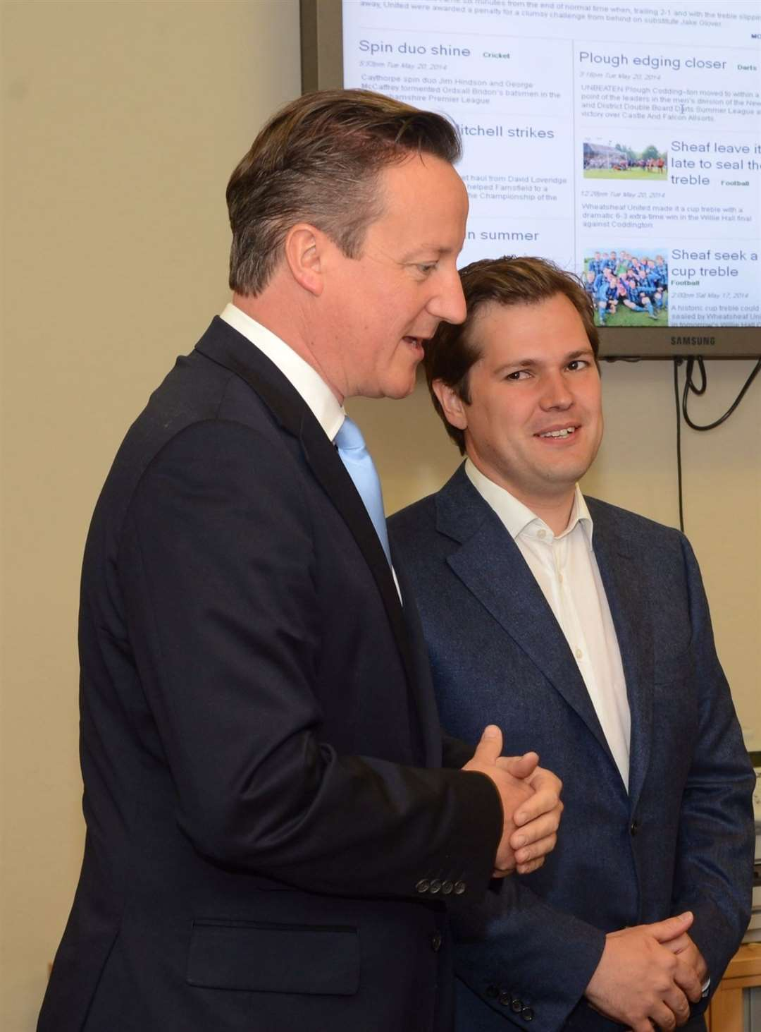 Then Prime Minister David Cameron and Conservative candidate Robert Jenrick visit The Newark Advertiser, in 2014. (14281718)