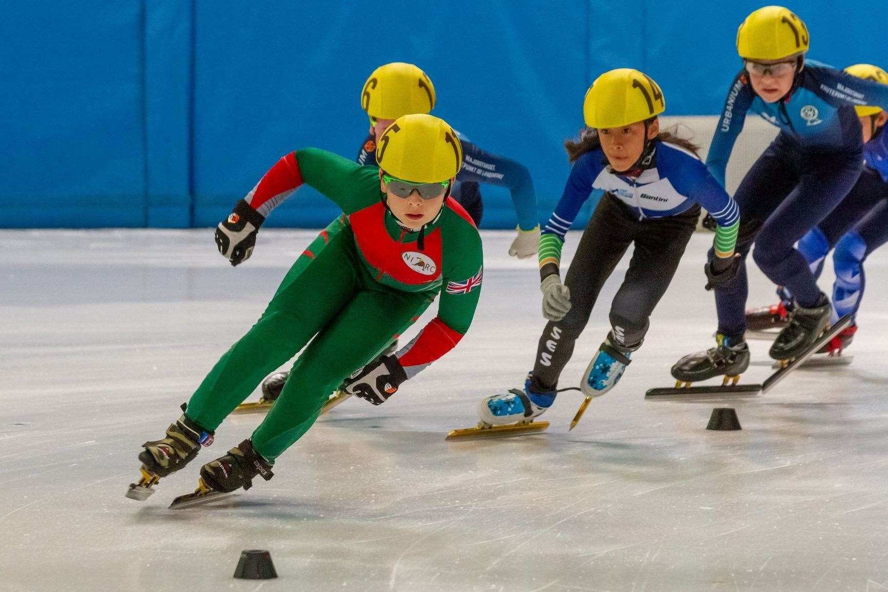 TWELVE-YEAR-OLD Freddie Polak (front) has returned from Oberstdorf, Germany, with two gold medals.