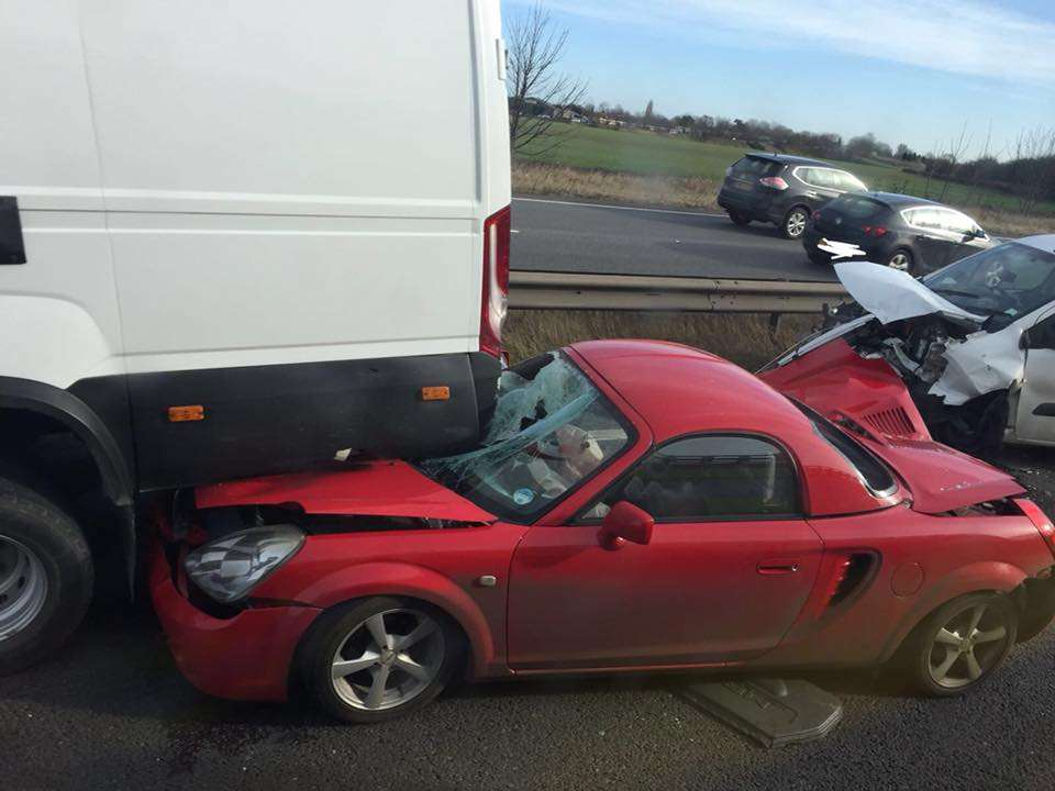 Damage caused to a car which collided with a van on the A1. Picture: Tuxford Fire Station